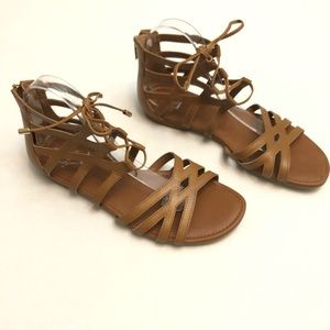ISOLA Brown Leather Lace Up Sandals